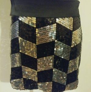 Womens Sequined Mini Skirt
